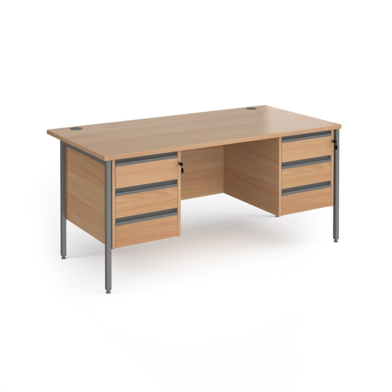 Contract 25 straight desk with 3 and 3 drawer pedestals and graphite H-Frame leg 1600mm x 800mm - beech top - Furniture