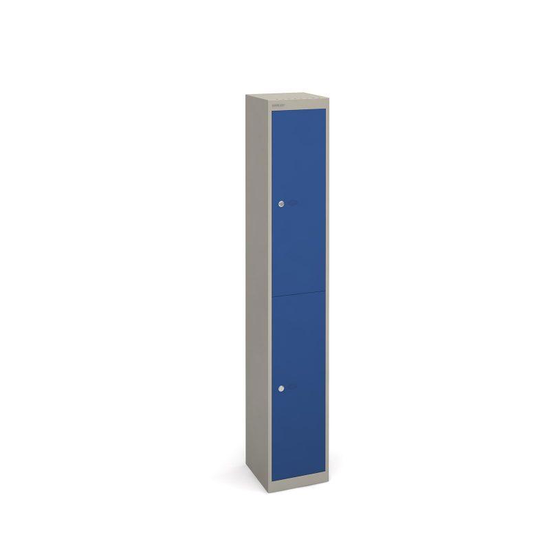 Bisley lockers with 2 doors 305mm deep - grey with blue doors - Furniture
