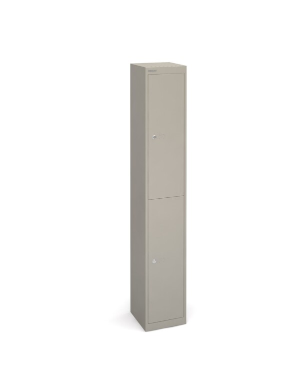 Bisley lockers with 2 doors 305mm deep - grey - Furniture
