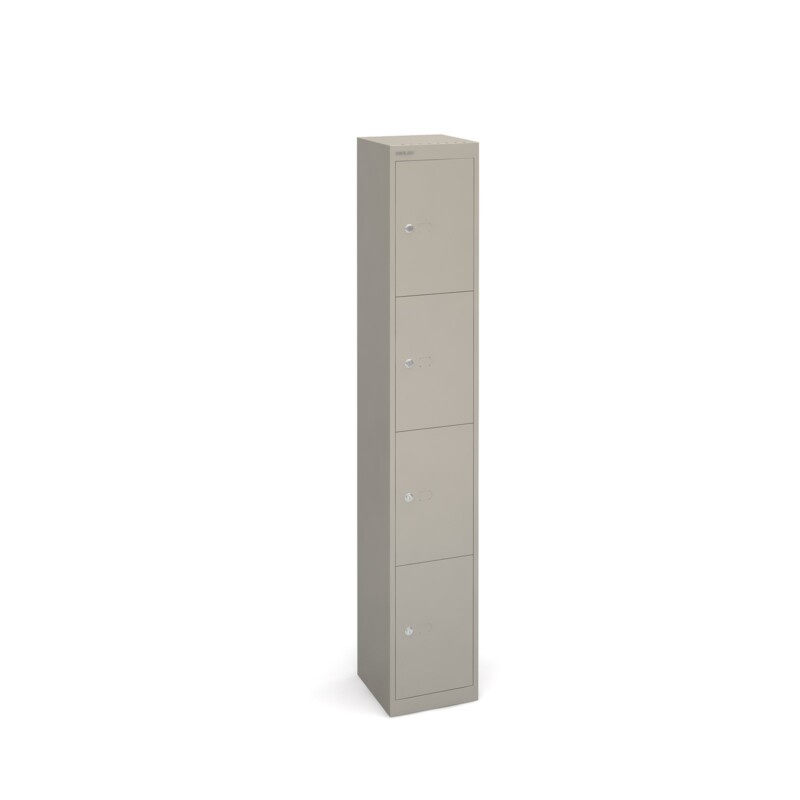 Bisley lockers with 4 doors 305mm deep - grey - Furniture
