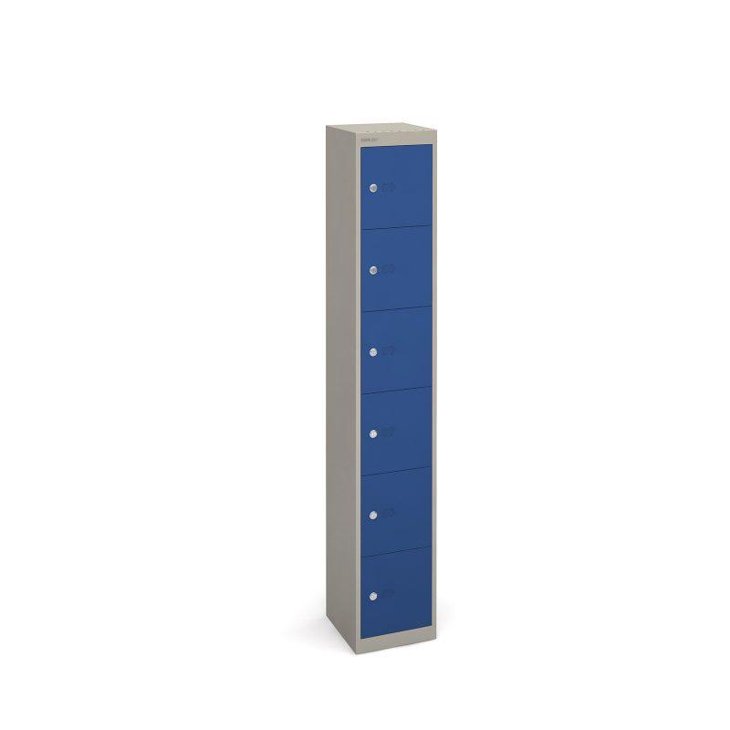 Bisley lockers with 6 doors 305mm deep - grey with blue doors - Furniture