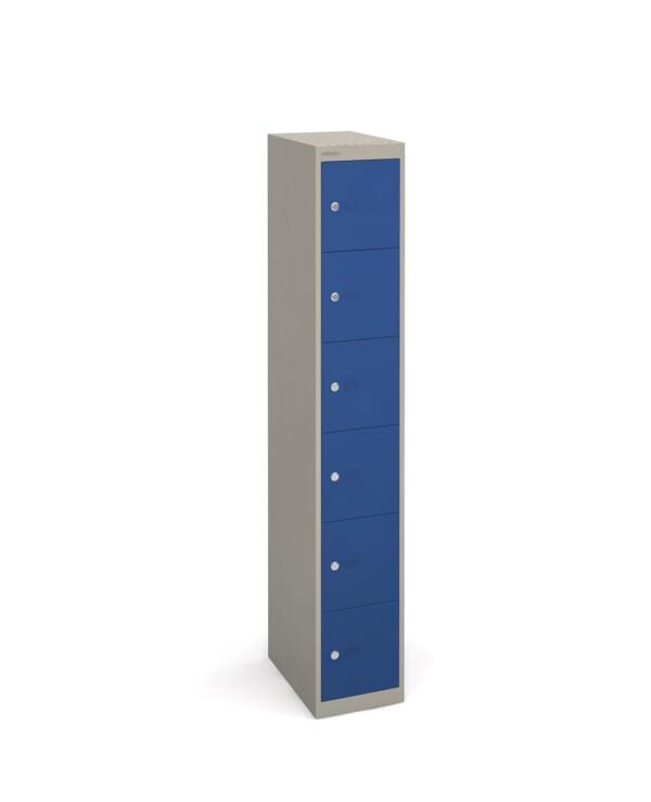 Bisley lockers with 6 doors 457mm deep - grey with blue doors - Furniture