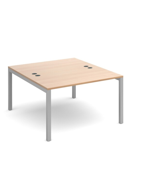 Connex starter units back to back 1200mm x 1600mm - silver frame, beech top - Furniture