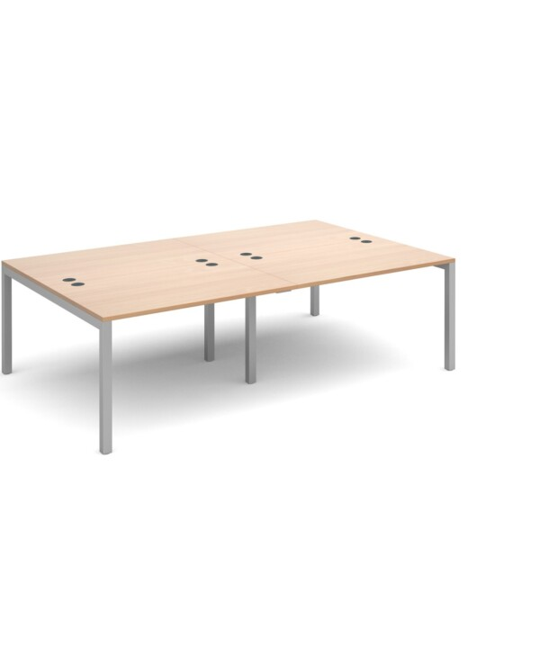 Connex double back to back desks 2400mm x 1600mm - silver frame, beech top - Furniture