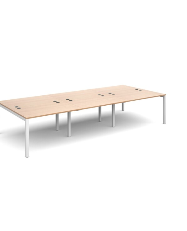 Connex triple back to back desks 3600mm x 1600mm - silver frame, beech top - Furniture