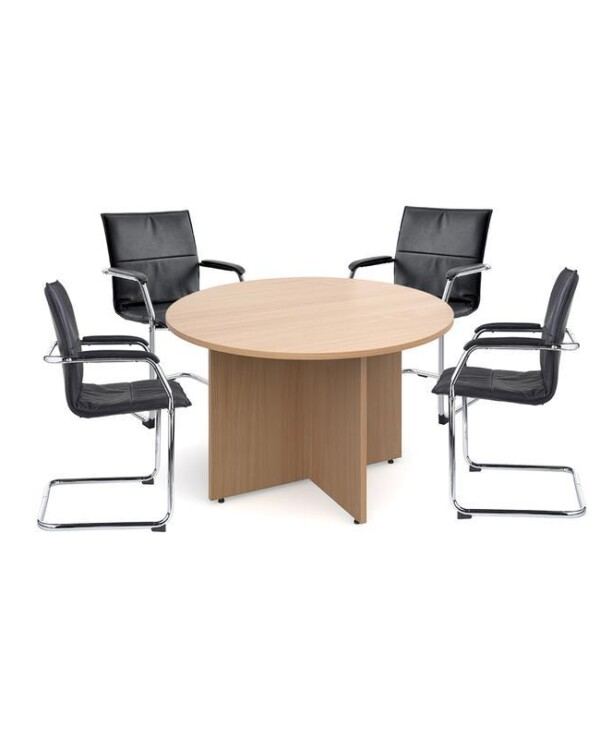 Bundle deal 4 x Essen visitors chairs with RT12 meeting table - white - Furniture
