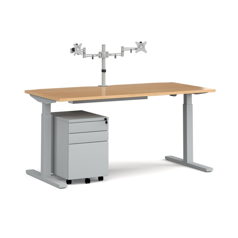 Elev8 Mono straight sit-stand desk 1600mm - silver frame, beech top with matching double monitor arm, steel pedestal and c...