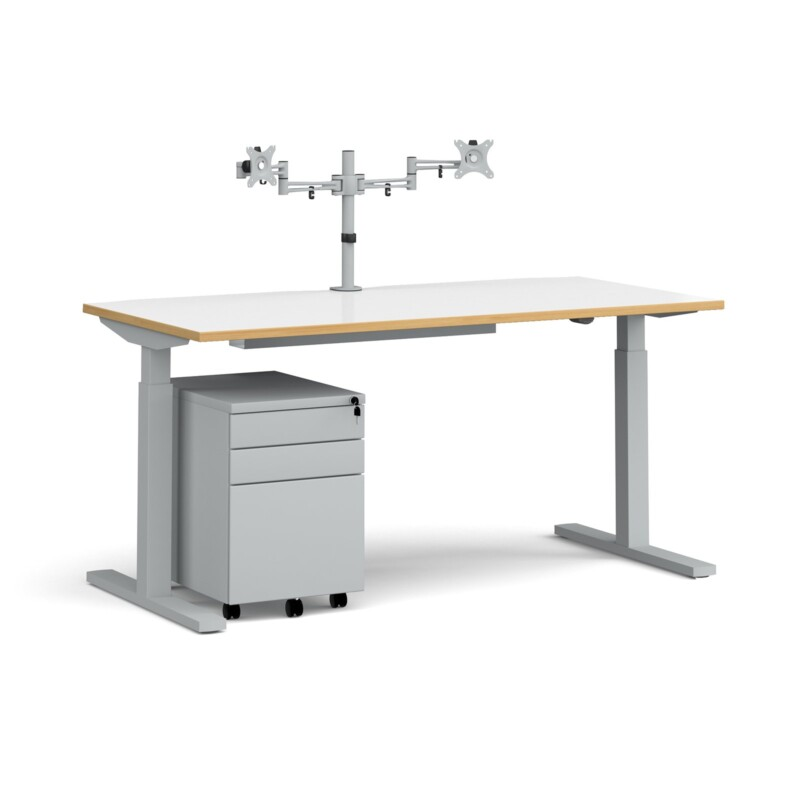 Elev8 Mono straight sit-stand desk 1600mm - silver frame, white top with oak edge with matching double monitor arm, steel ...