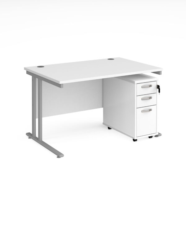 Maestro 25 straight desk 1200mm x 800mm with silver cantilever leg frame and tall slimline 3 drawer mobile pedestal - whit...