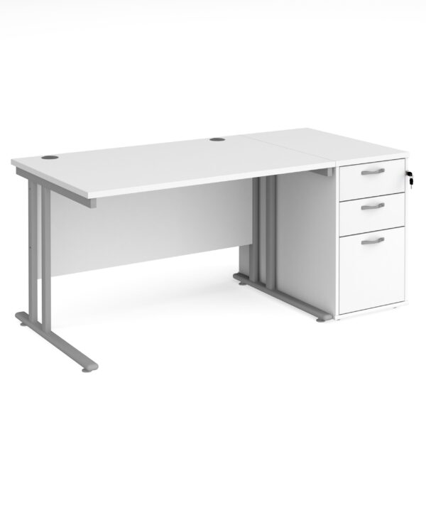 Maestro 25 straight desk 1200mm x 800mm with silver cantilever leg frame and desk end pedestal - white - Furniture