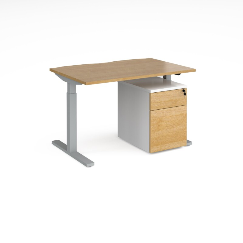 Elev8 Mono straight sit-stand desk 1200mm x 800mm with silver frame and beech top with Duo mobile pedestal - white/beech -...