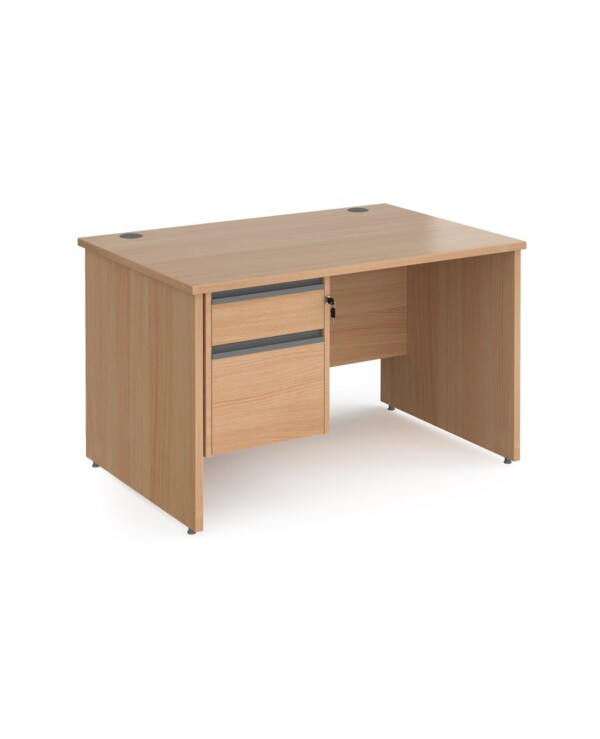 Contract 25 straight desk with 2 drawer graphite pedestal and panel leg 1200mm x 800mm - beech - Furniture