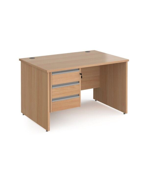 Contract 25 straight desk with 3 drawer graphite pedestal and panel leg 1200mm x 800mm - beech - Furniture