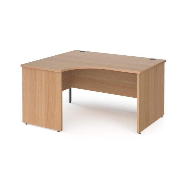 Contract 25 left hand ergonomic desk with panel ends and graphite corner leg 1400mm - beech - Furniture