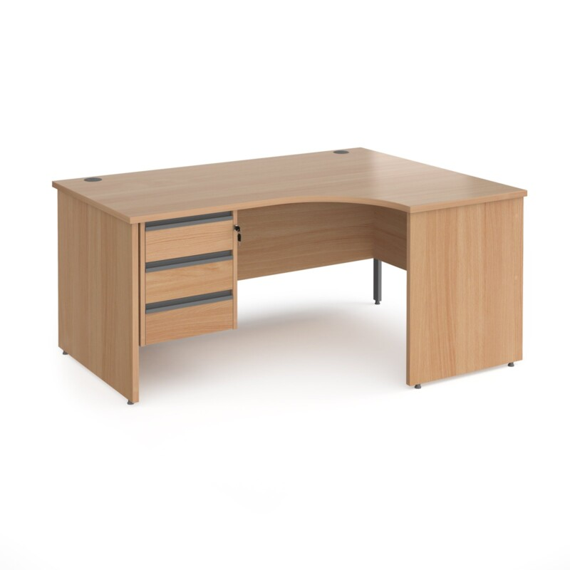 Contract 25 right hand ergonomic desk with 3 drawer graphite pedestal and panel leg 1600mm - beech - Furniture