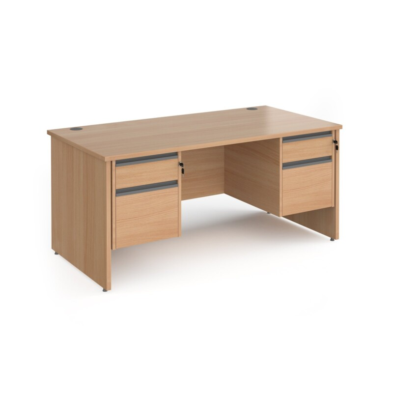 Contract 25 straight desk with 2 and 2 drawer graphite pedestals and panel leg 1600mm x 800mm - beech - Furniture
