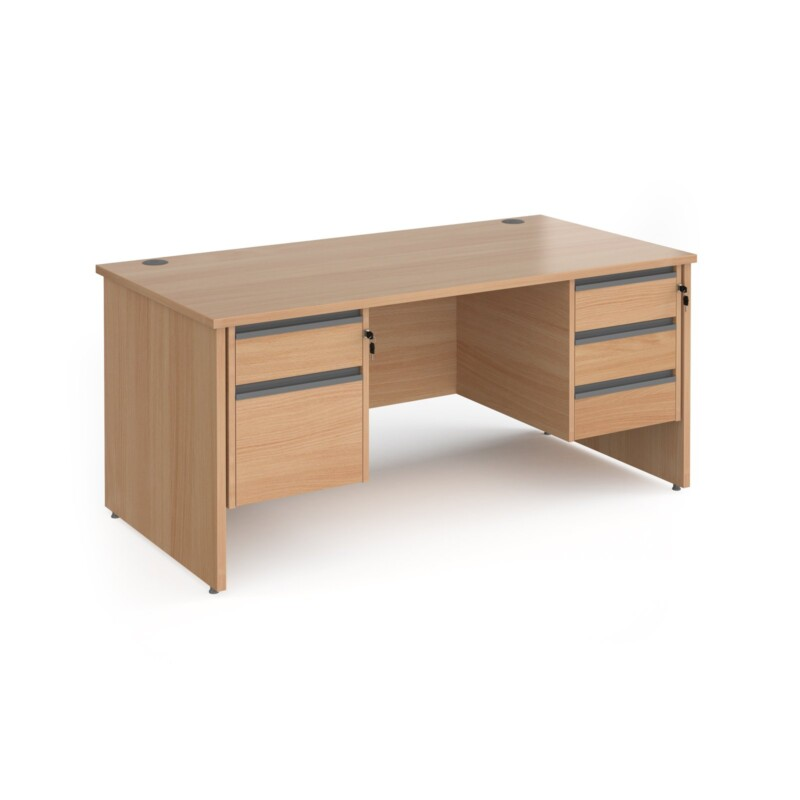 Contract 25 straight desk with 2 and 3 drawer graphite pedestals and panel leg 1600mm x 800mm - beech - Furniture