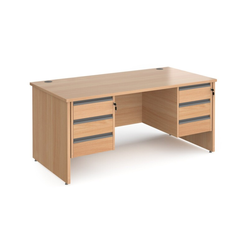 Contract 25 straight desk with 3 and 3 drawer graphite pedestals and panel leg 1600mm x 800mm - beech - Furniture
