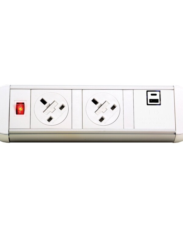 Chroma clip-on power module 2 x UK sockets, 1 x twin USB fast charge - white - Furniture