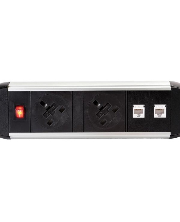 Chroma clip-on power module 2 x UK sockets, 2 x RJ45 sockets - white - Furniture
