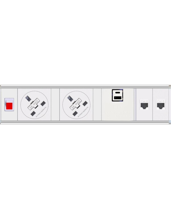 Chroma clip-on power module 2 x UK sockets, 1 x twin USB fast charge, 2 x RJ45 sockets - white - Furniture