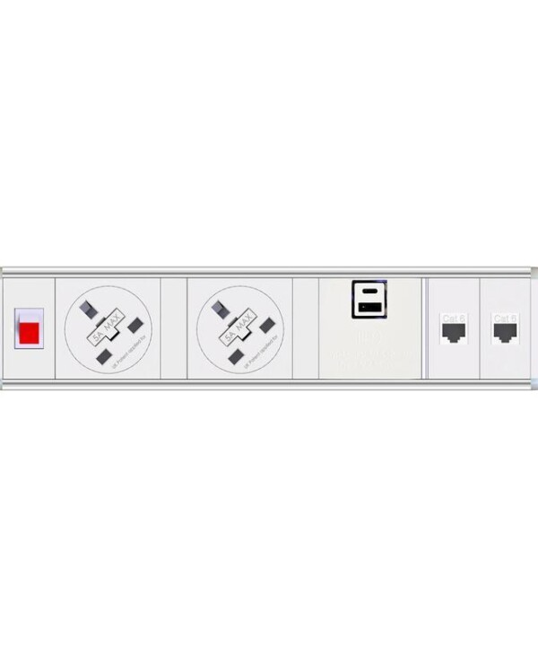 Chroma clip-on power module 2 x UK sockets, 1 x twin USB fast charge, 2 x RJ45 sockets - black - Furniture