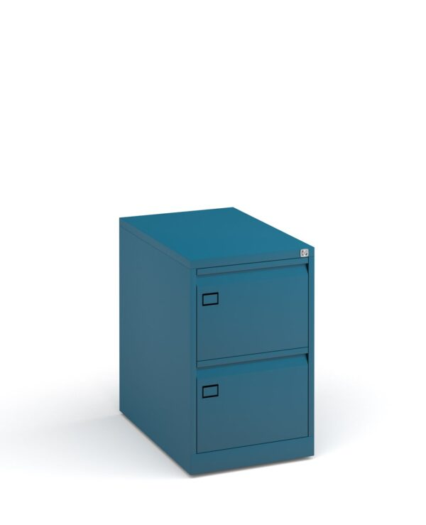 Steel 2 drawer executive filing cabinet 711mm high - blue - Furniture