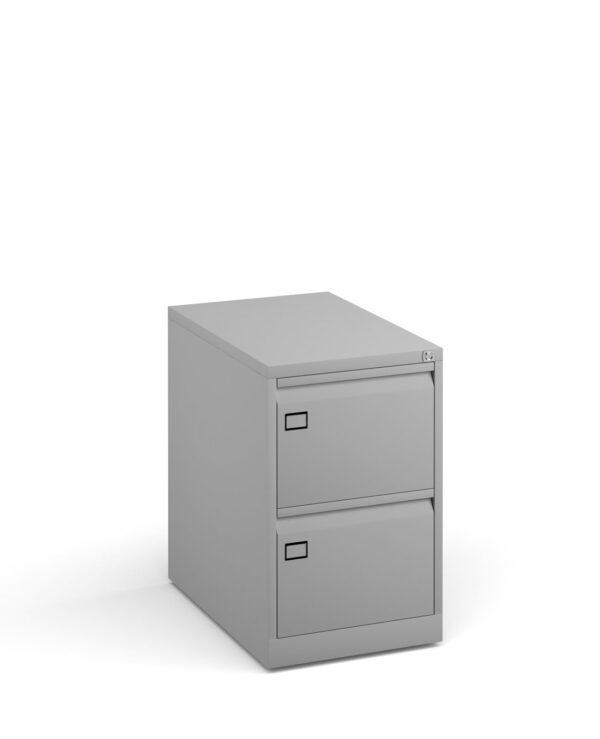 Steel 2 drawer executive filing cabinet 711mm high - goose grey - Furniture