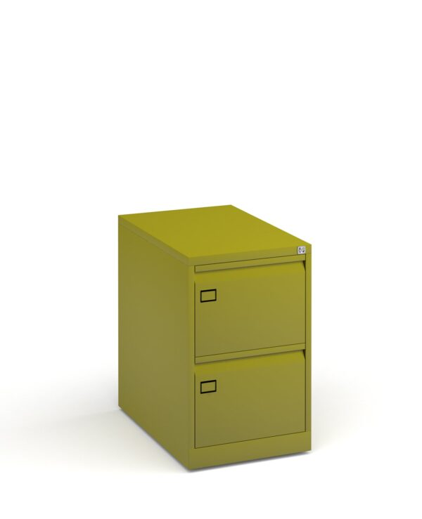 Steel 2 drawer executive filing cabinet 711mm high - green - Furniture