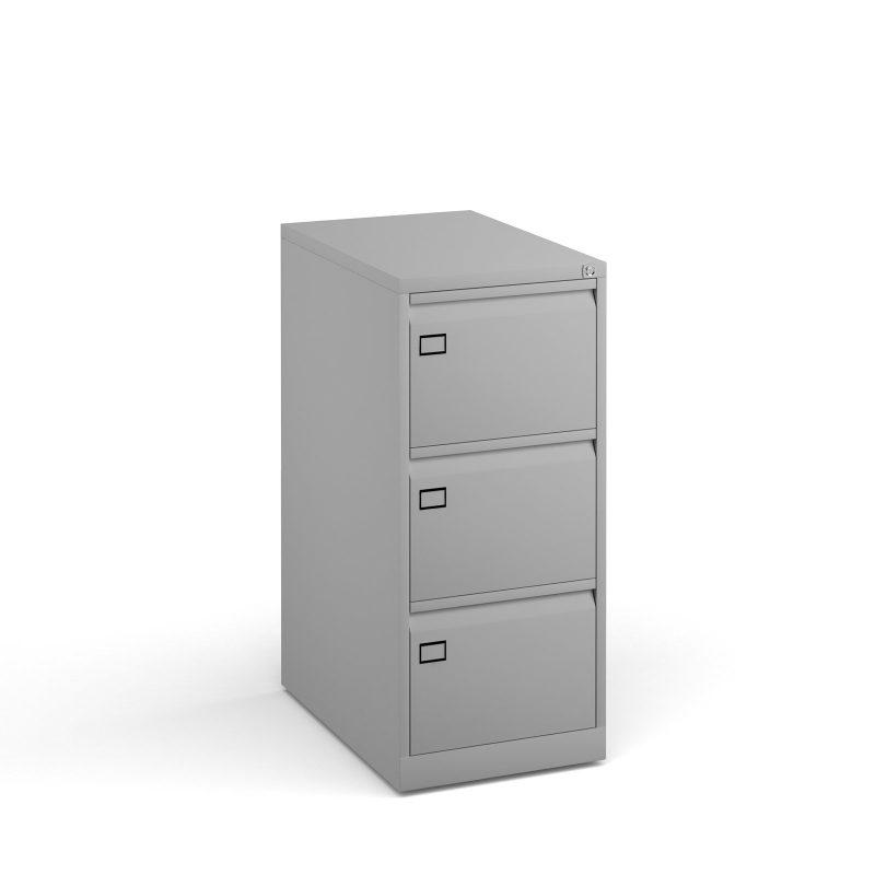 Steel 3 drawer executive filing cabinet 1016mm high - goose grey - Furniture