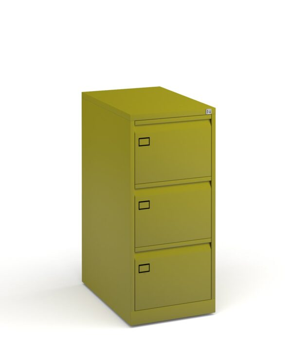 Steel 3 drawer executive filing cabinet 1016mm high - green - Furniture
