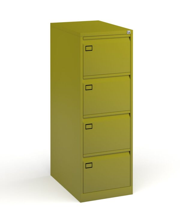 Steel 4 drawer executive filing cabinet 1321mm high - green - Furniture