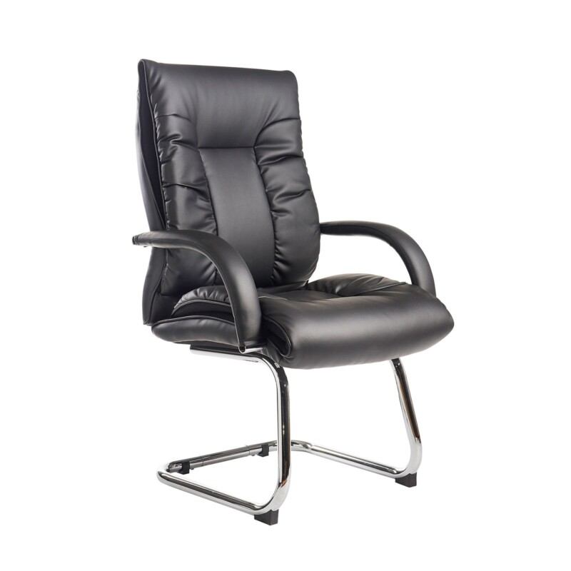 Derby high back visitors chair - black faux leather - Furniture