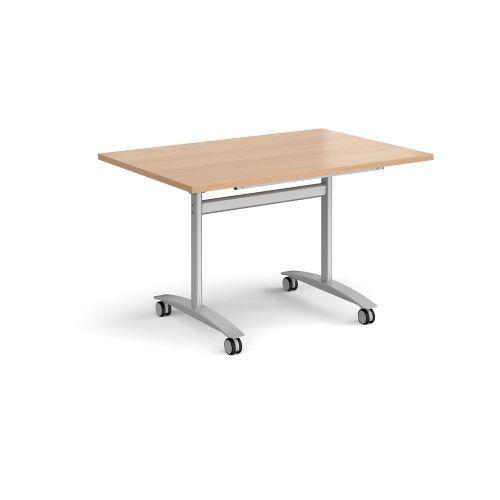 Rectangular deluxe fliptop meeting table with black frame 1200mm x 800mm - beech - Furniture