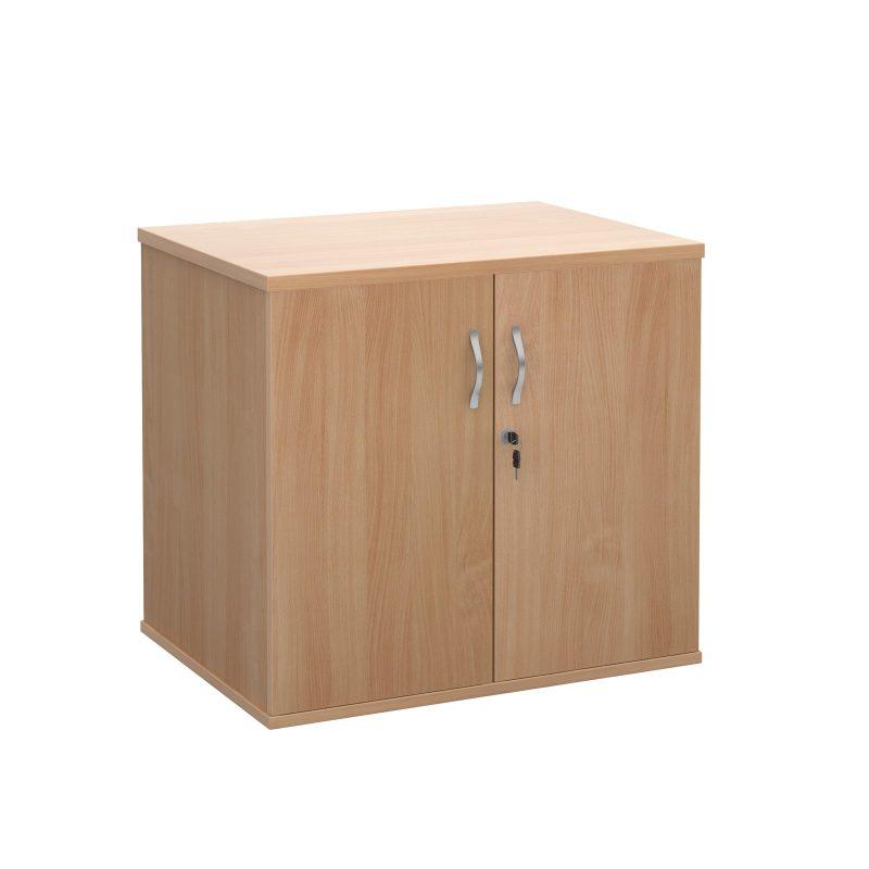 Deluxe double door desk high cupboard 600mm deep - beech - Furniture