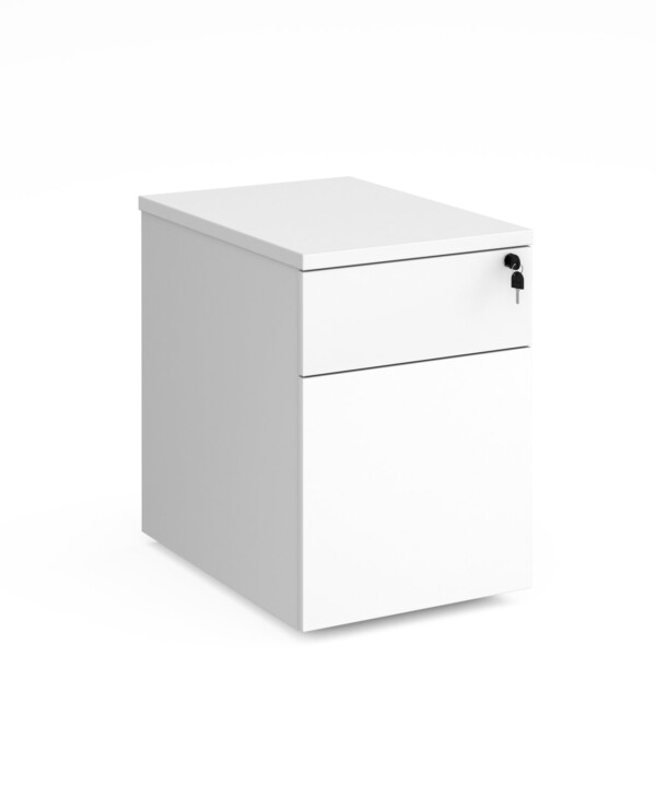 Deluxe 2 drawer mobile pedestal 600mm deep - white - Furniture