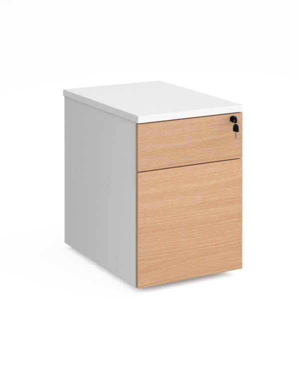 Duo 2 drawer mobile pedestal 600mm deep - white with beech drawers - Furniture
