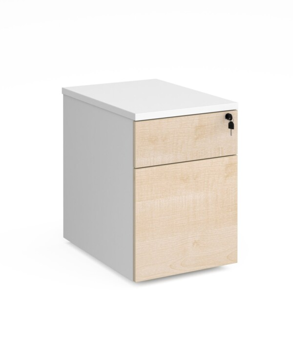Duo 2 drawer mobile pedestal 600mm deep - white with maple drawers - Furniture