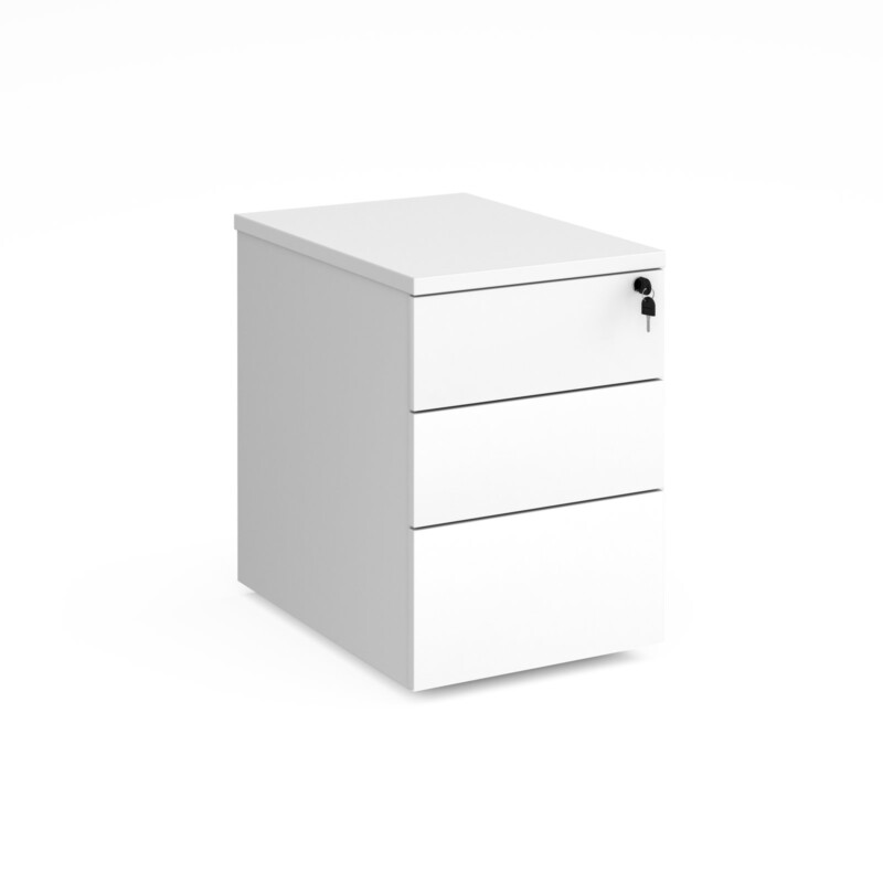 Deluxe 3 drawer mobile pedestal 600mm deep - white - Furniture