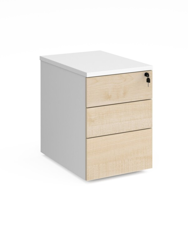Duo 3 drawer mobile pedestal 600mm deep - white with maple drawers - Furniture