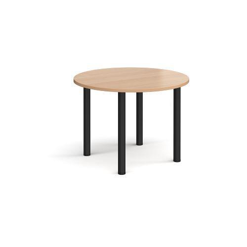 Circular chrome radial leg meeting table 1000mm - beech - Furniture