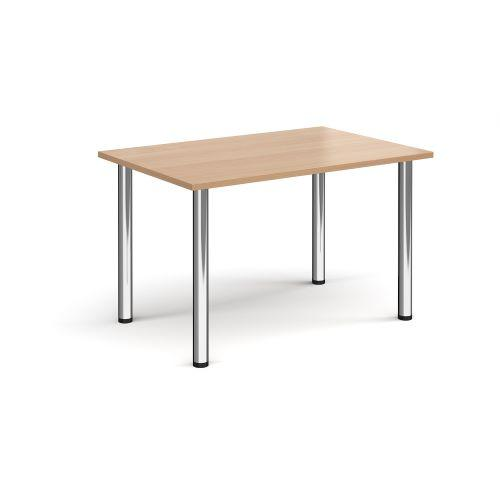 Rectangular chrome radial leg meeting table 1200mm x 800mm - beech - Furniture