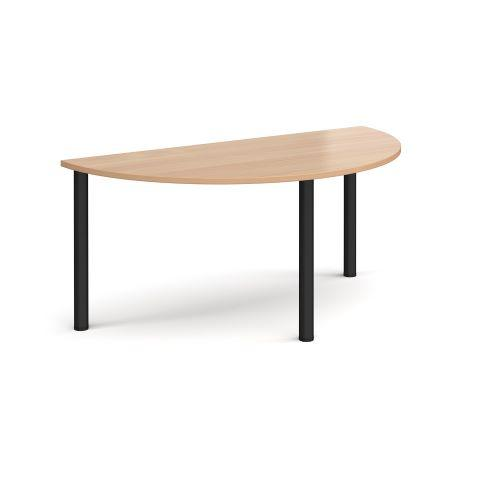Semi circular chrome radial leg meeting table 1600mm x 800mm - beech - Furniture