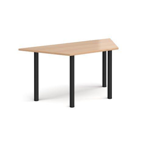 Trapezoidal chrome radial leg meeting table 1600mm x 800mm - beech - Furniture