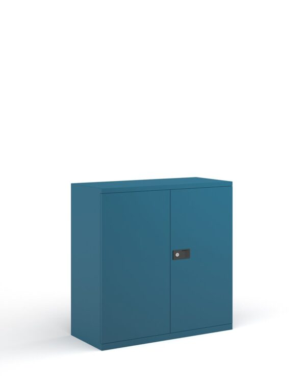 Steel contract cupboard with 1 shelf 1000mm high - blue - Furniture