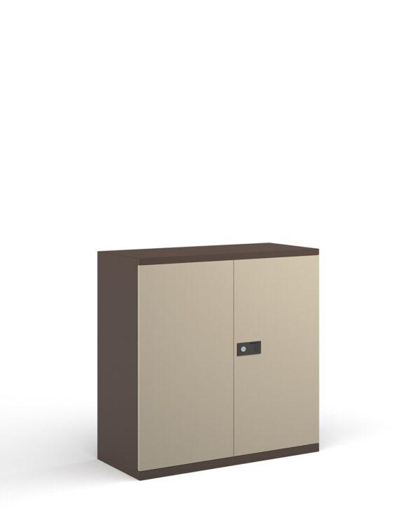 Steel contract cupboard with 1 shelf 1000mm high - coffee/cream  - Furniture