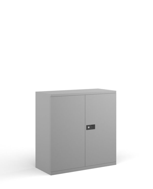 Steel contract cupboard with 1 shelf 1000mm high - goose grey - Furniture