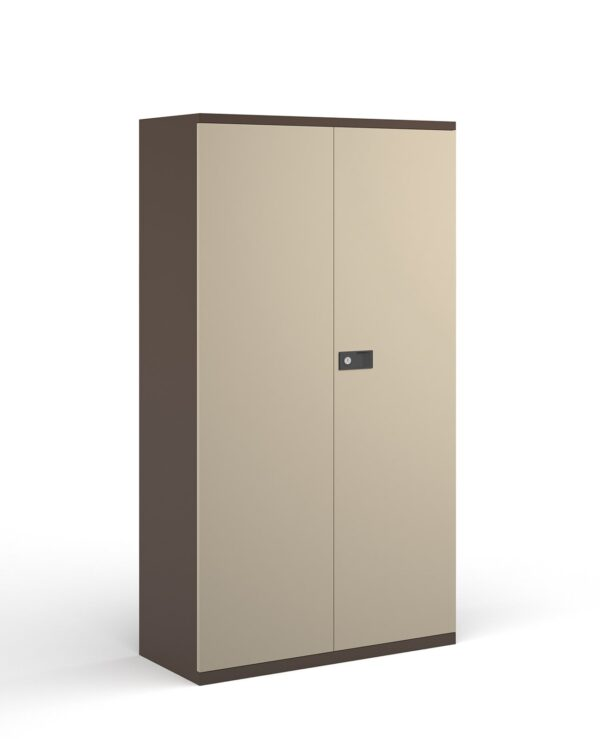Steel contract cupboard with 3 shelves 1806mm high - coffee/cream  - Furniture
