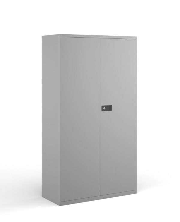 Steel contract cupboard with 3 shelves 1806mm high - goose grey - Furniture