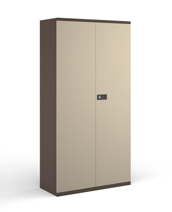 Steel contract cupboard with 4 shelves 1968mm high - coffee/cream  - Furniture